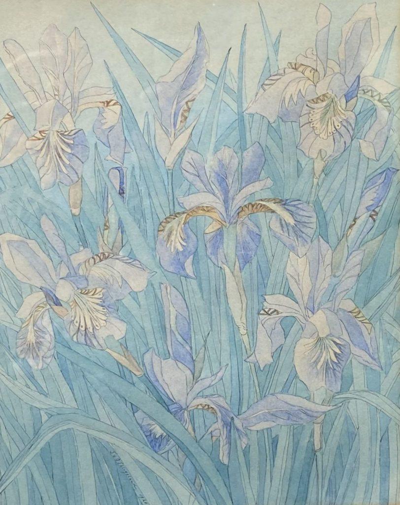 Kunst te koop bij Galerie Wijdemeren, Bloemenveld aquarel op papier gesigneerd en gedateerd 1920