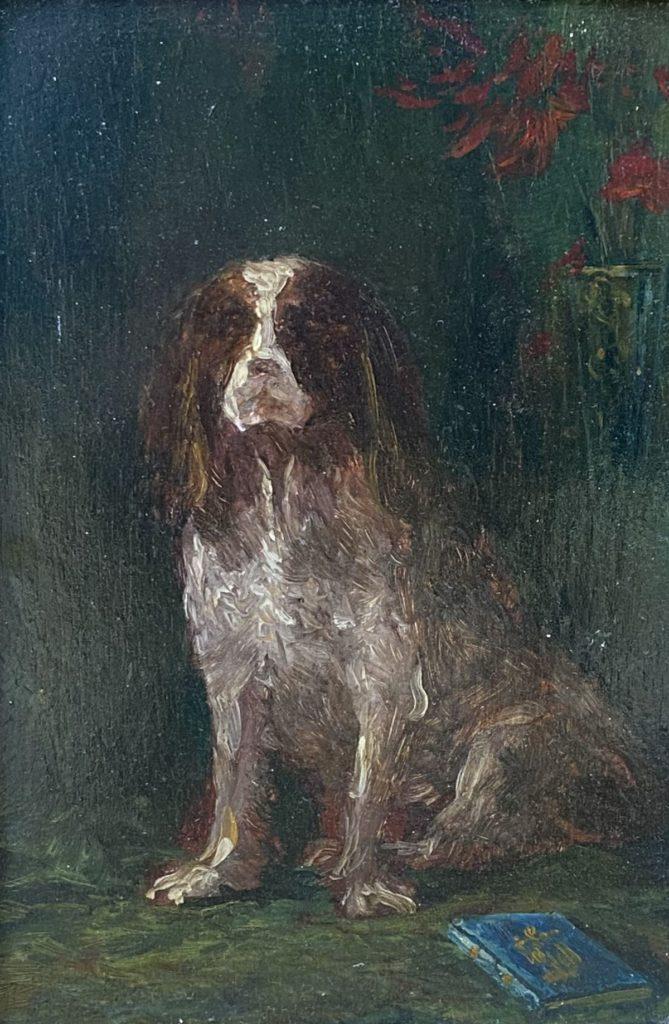 Kunst te koop bij Galerie Wijdemeren van kunstschilder E.R.D. Schaap Portret van Dandy of Goodluck olie op paneel verso gesigneerd