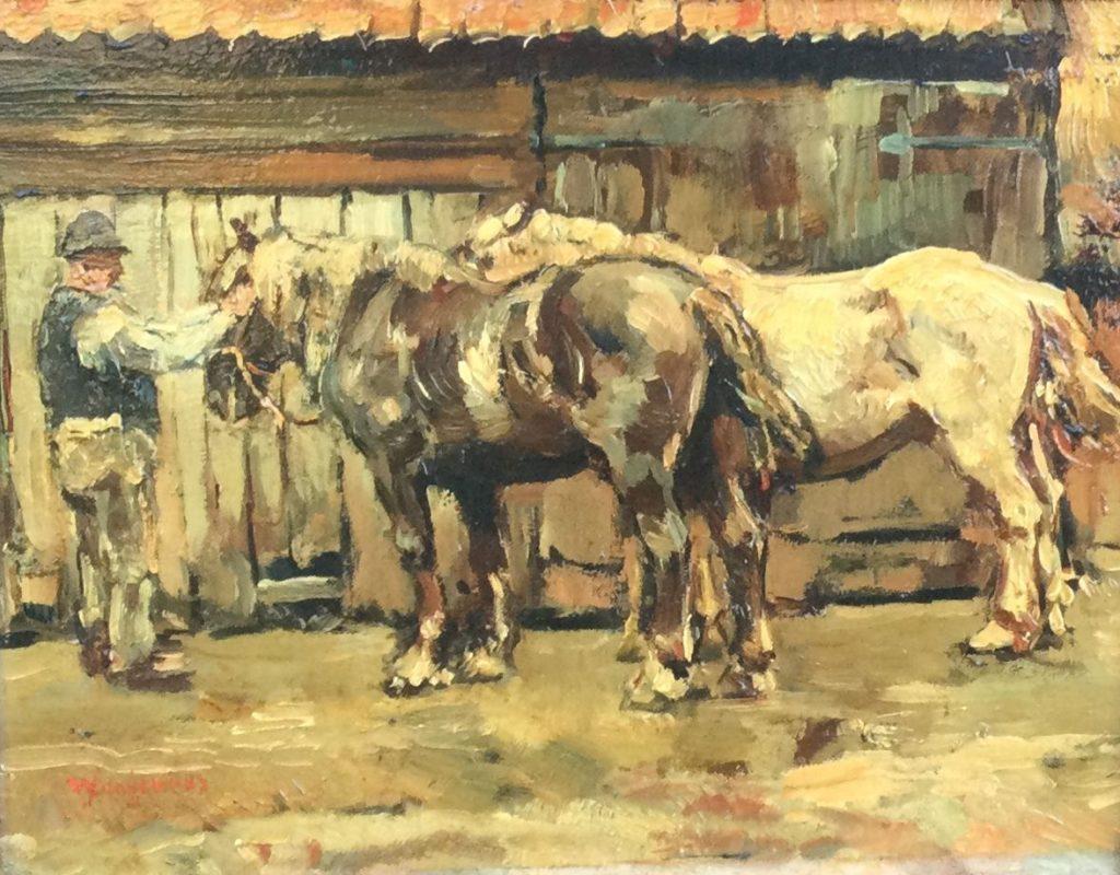 Kunst te koop bij Galerie Wijdemeren van kunstschilder W. Dingemans Paarden in de stal olie op paneel, 22 x 28.5 cm linksonder gesigneerd