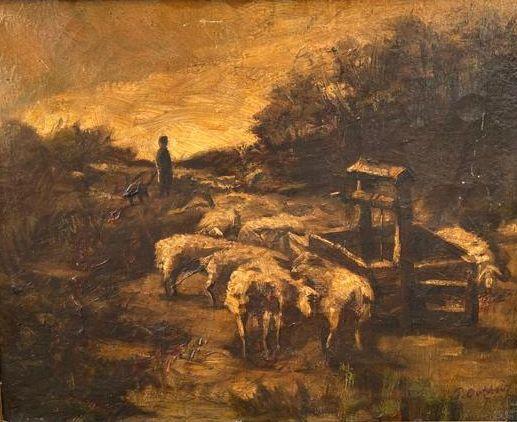 Kunst te koop bij Galerie Wijdemeren van kunstschilder P. Oothout Schaapsherder met kudde olieverf op doek, 28.3 x 35.5 cm rechtsonder gesigneerd