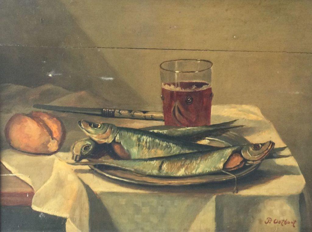 Kunst te koop bij Galerie Wijdemeren van kunstschilder P. Oothout Stilleven met vissen, olieverf op paneel, 29 x 38.5 cm