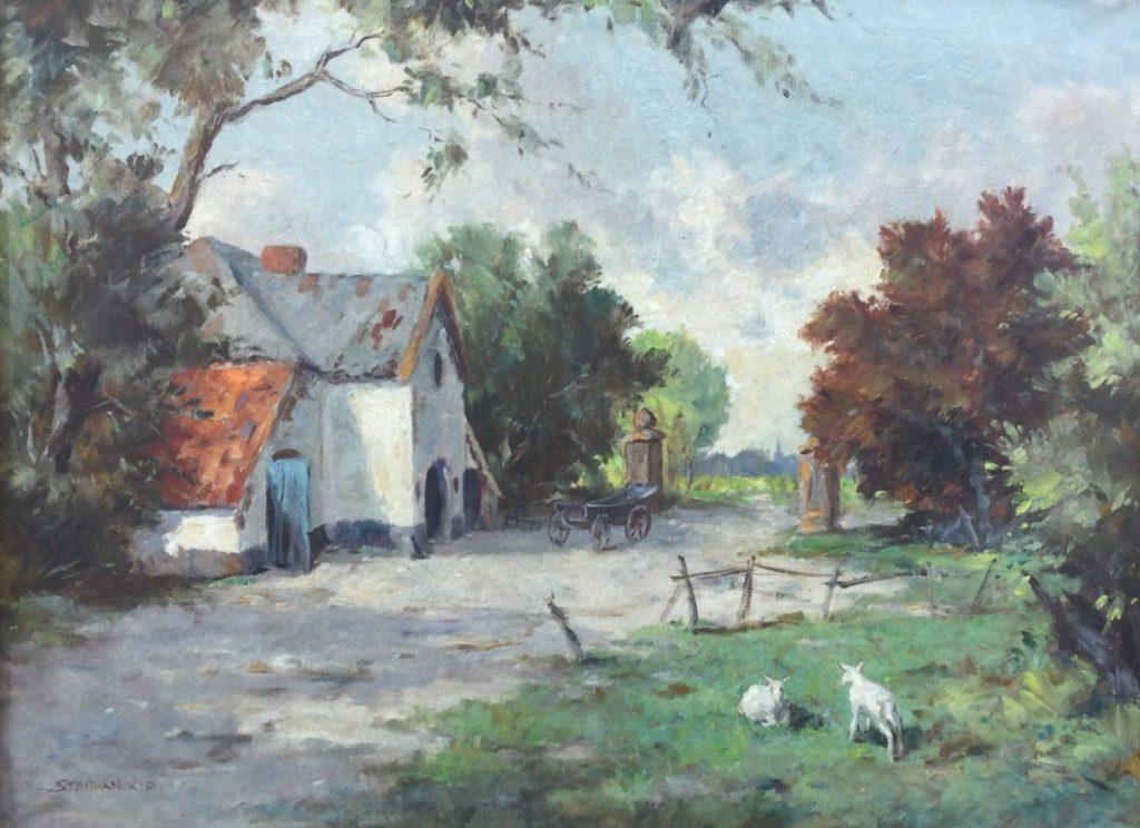 Kunst te koop bij galerie Wijdemeren van kunstschilder Stephan Kip Boerderij met kar en lammetjes olie op doek, 61 x 81 cm linksonder gesigneerd