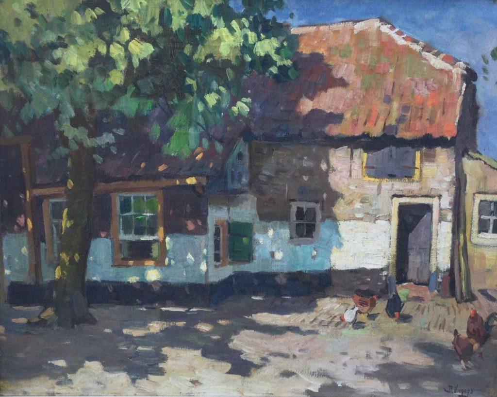 Kunst te koop bij Galerie Wijdemeren van kunstschilder Ben Viegers Boerderij met kippen olie op doek, 40 x 50 cm rechtsonder gesigneerd