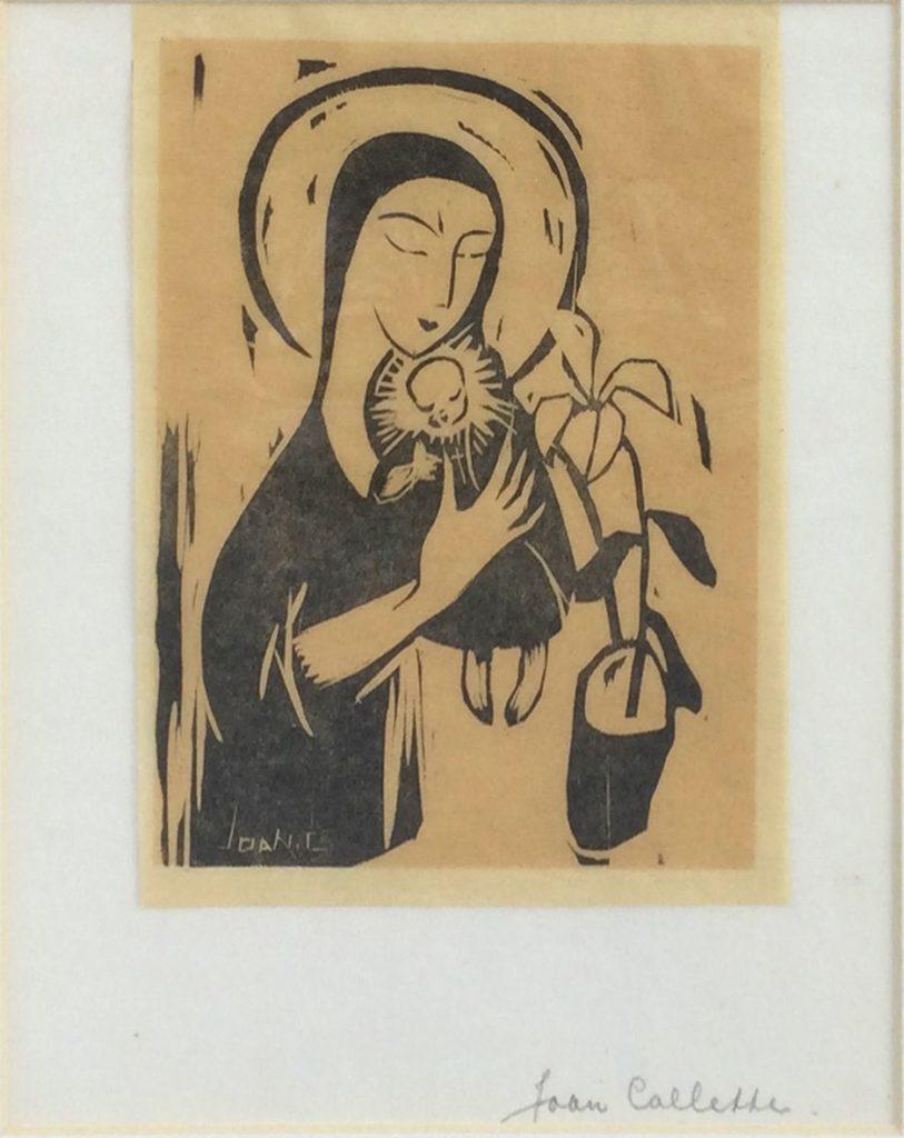 Kunst te koop bij Galerie Wijdemeren van kunstschilder Joan Collette Madonna met kind houtsnede op Japans papier, beeldmaat 17.5 x 13 cm rechtsonder handgesigneerd