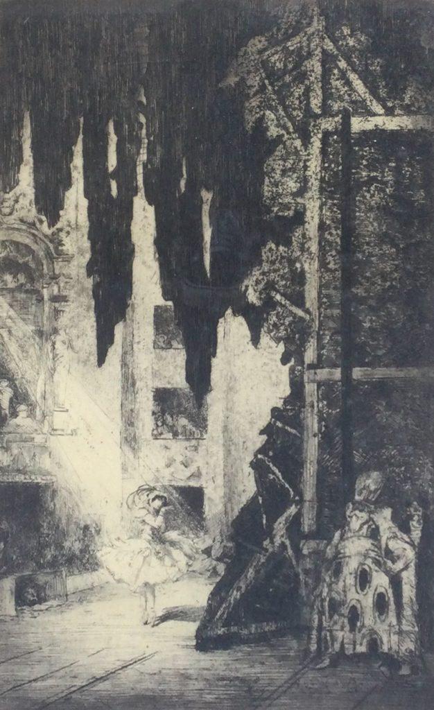 Kunst te koop bij galerie Wijdemeren van graficus Charles Jean Hallo Danseres in theater ets, beeldmaat 46 x 28 cm linksonder en rechtsonder handgesigneerd