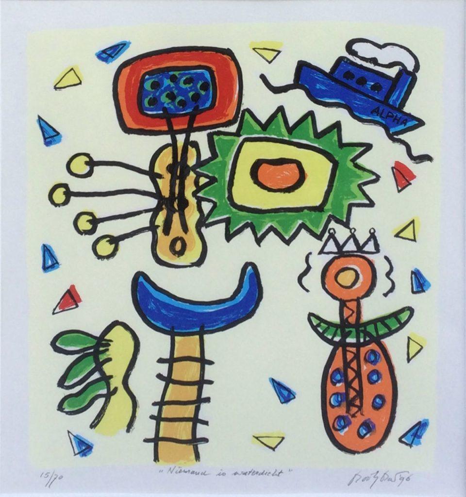 Kunst te koop bij Galerie Wijdemeren van graficus Keimpe Kootstra Niemand is waterdicht zeefdruk, oplage 15/70, beeldmaat 43 x 37 cm rechtsonder handgesigneerd en gedateerd 96