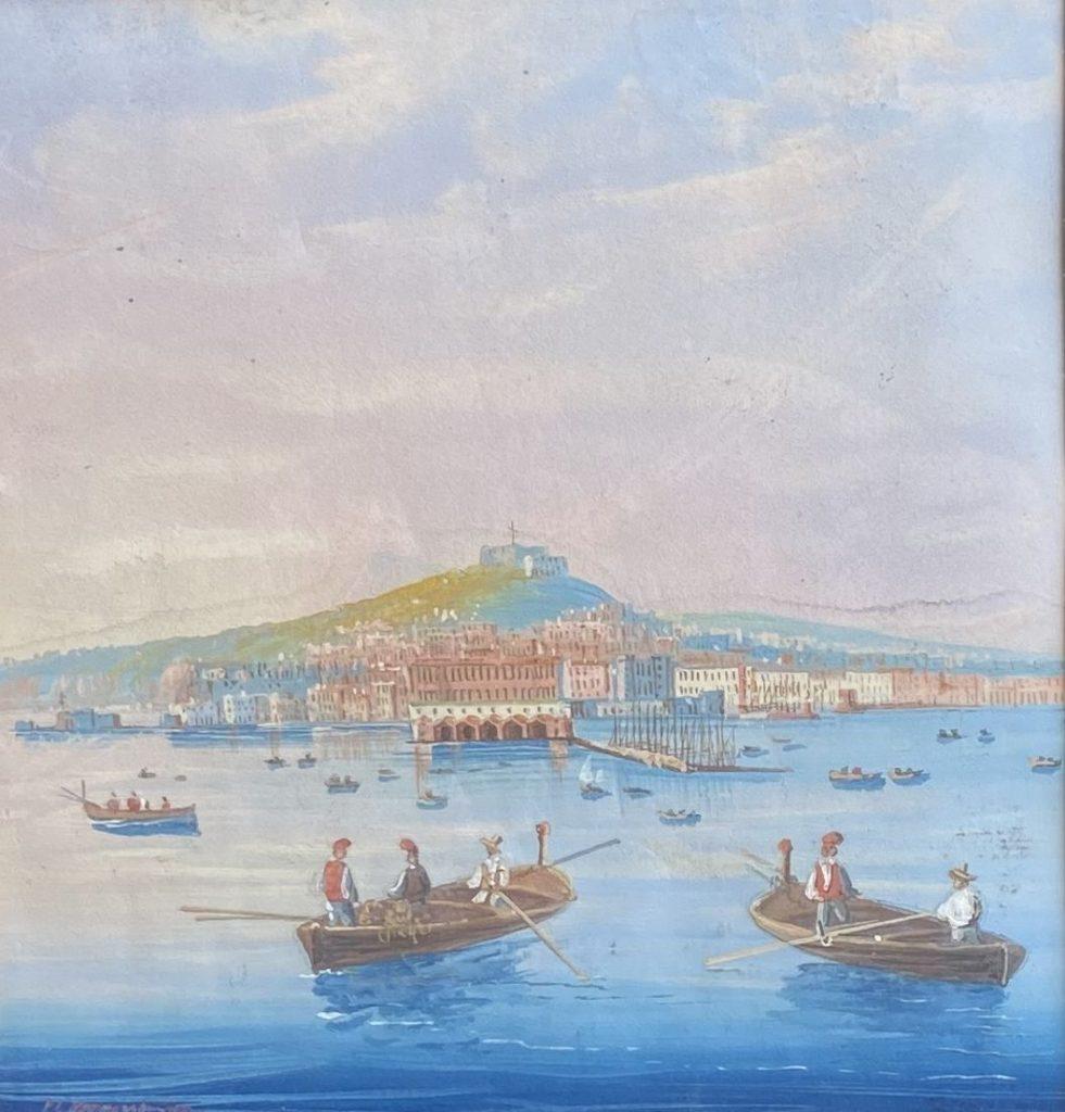 Kunst te koop bij Galerie Wijdemeren van kunstschilder P.C. Dommershuijzen Gondelaars bij Italiaanse stad gouache op papier, 17 x 16 cm linksonder gesigneerd