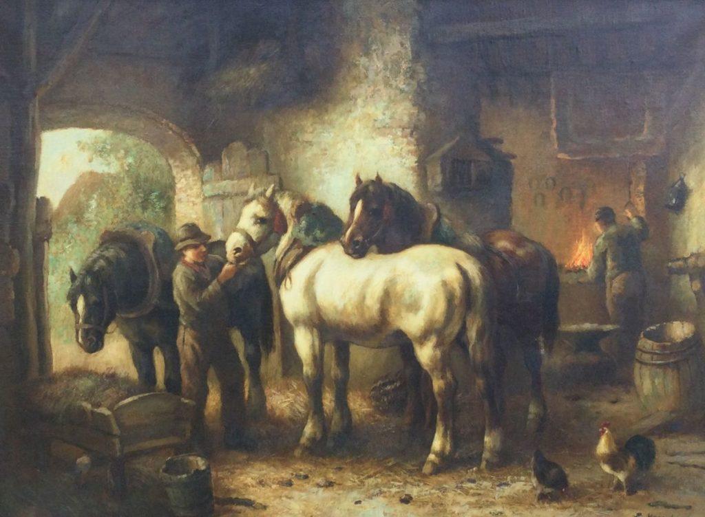 Kunst te koop bij Galerie Wijdemeren van kunstschilder Cornelis Verschuur Stal met paarden olie op doek, 60 x 80 cm rechtsonder gesigneerd