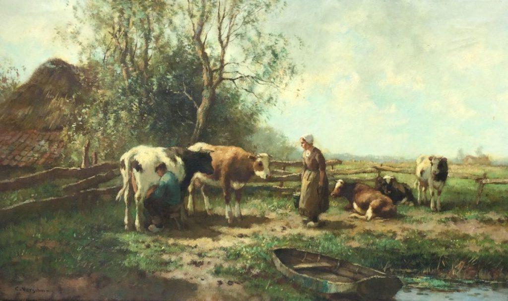 Kunst te koop bij Galerie Wijdemeren van kunstschilder Cornelis Verschuur Melkende boer olie op doek, 60 x 100.5 cm linksonder gesigneerd