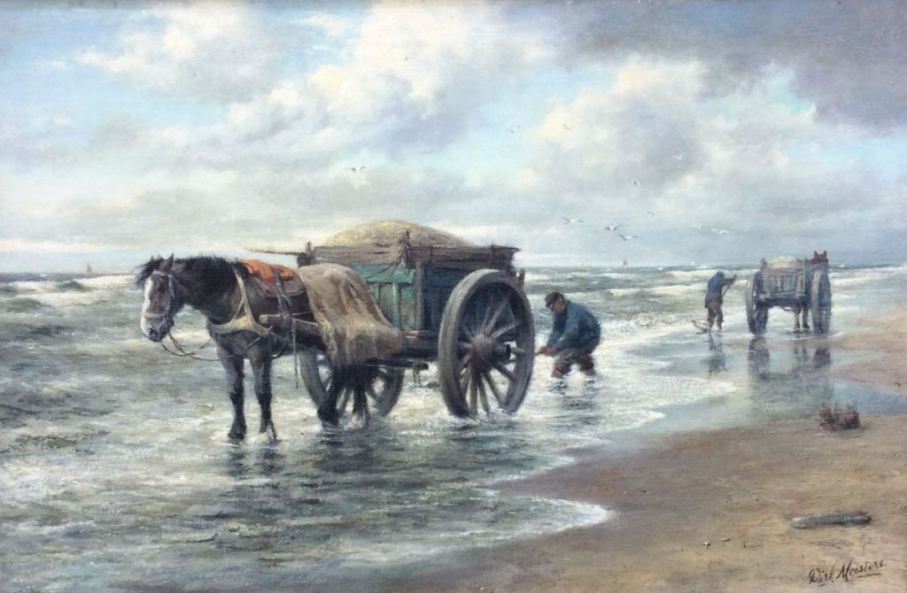 Kunst te koop bij Galerie Wijdemeren van kunstschilder Dirk Meesters Kokkelvisser olie op doek, 40 x 60 cm rechtsonder gesigneerd