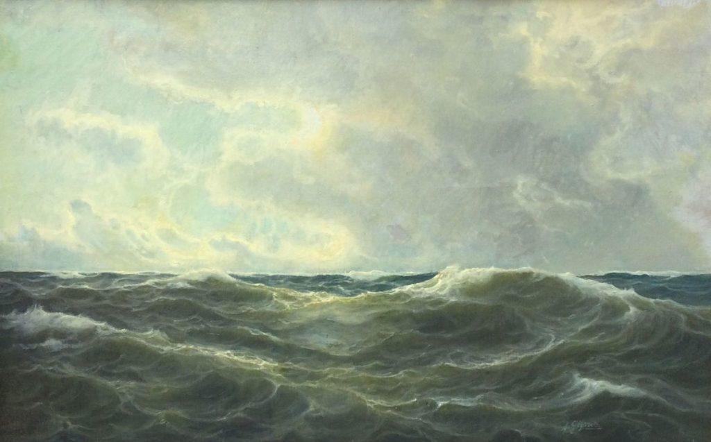Kunst te koop bij Galerie Wijdemeren van kunstschilder André Gignac Zeegezicht olie op doek, doekmaat 50.5 x 80.5 cm rechtsonder gesigneerd
