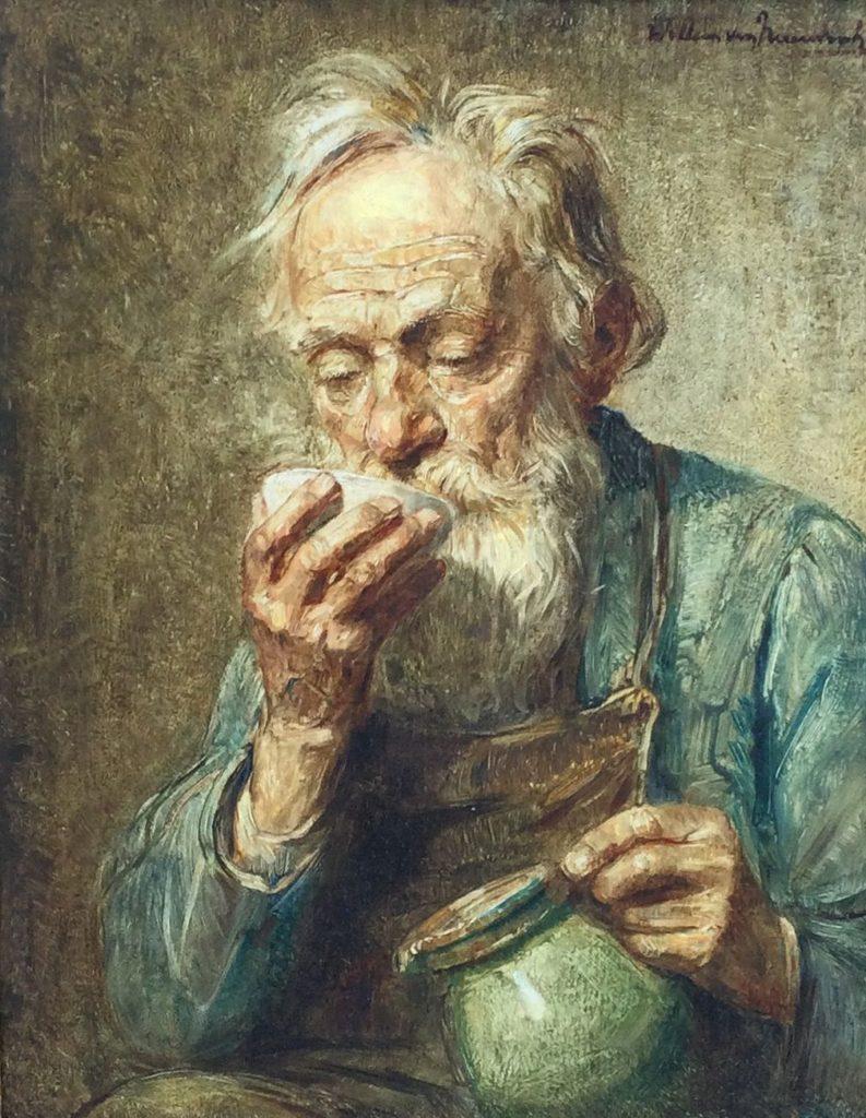 Kunst te koop bij Galerie Wijdemeren van kunstschilder Willem van Nieuwenhoven Drinkende man olie op paneel, 30 x 24 cm rechtsboven gesigneerd