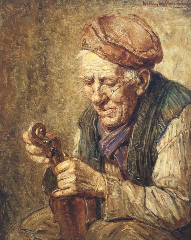 Kunst te koop bij Galerie Wijdemeren van kunstschilder Willem van Nieuwenhoven Vioolstemmer olie op paneel, 30 x 24 cm rechtsboven gesigneerd