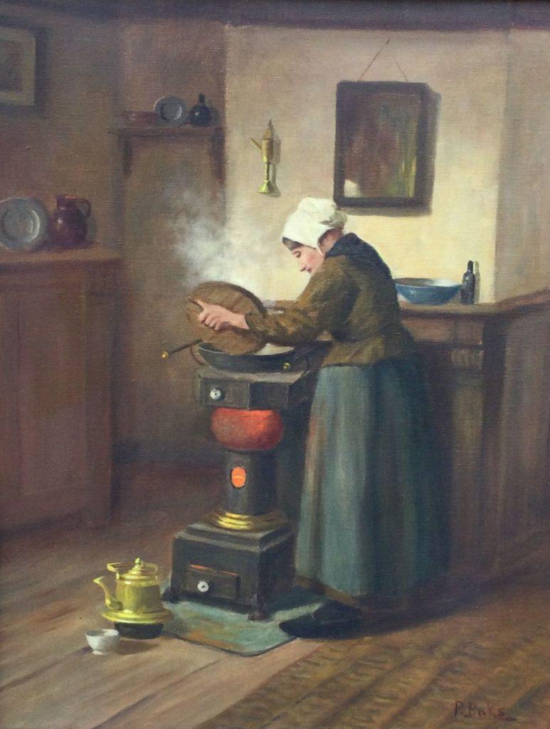 Kunst te koop bij Galerie Wijdemeren van kunstschilder Hendrik van Langen Keukeninterieur olie op doek, 50.5 x 40.5 cm rechtsonder gesigneerd