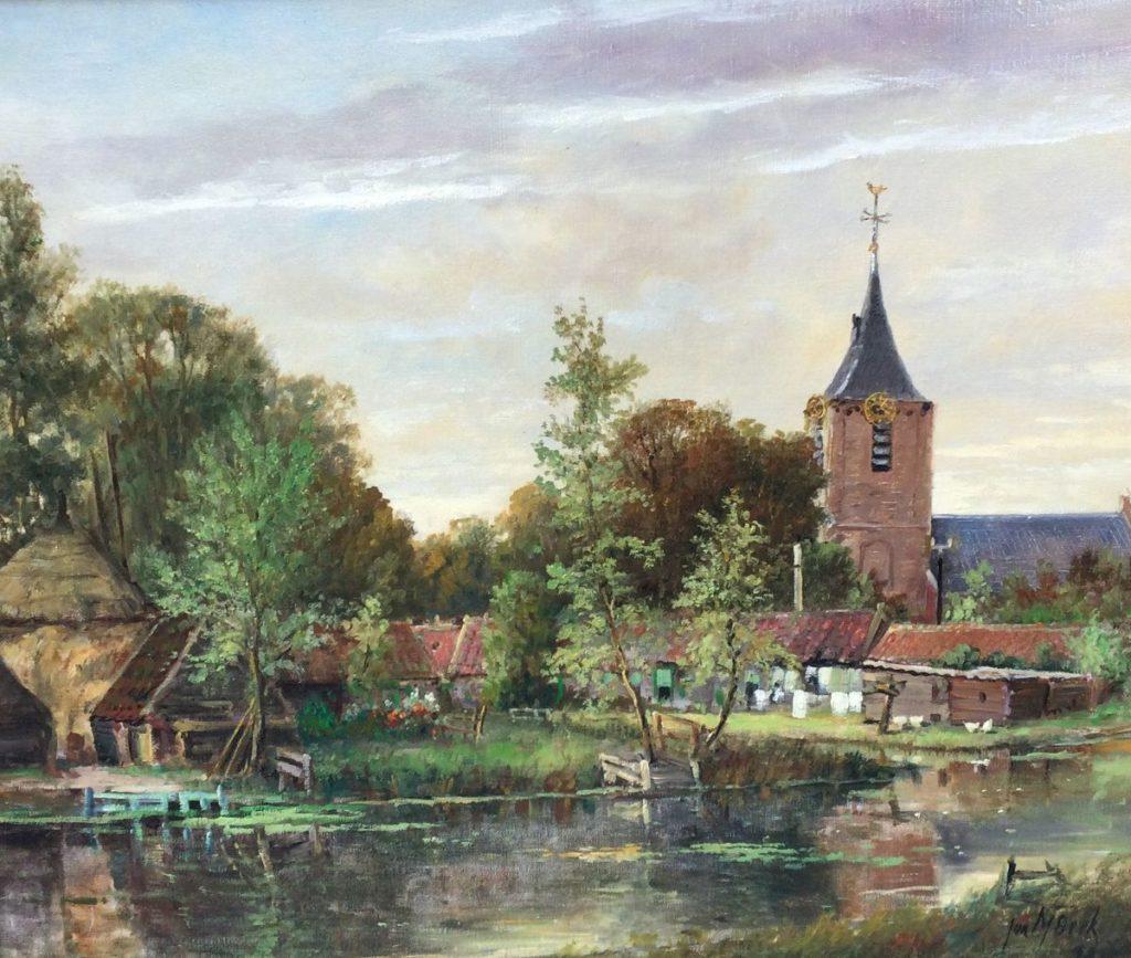 Kunst te koop bij Galerie Wijdemeren van kunstschilder Jur M. Beek Boerderij met kerk te Kootdorp olie op doek, 50.5 x 60.5 cm rechtsonder gesigneerd