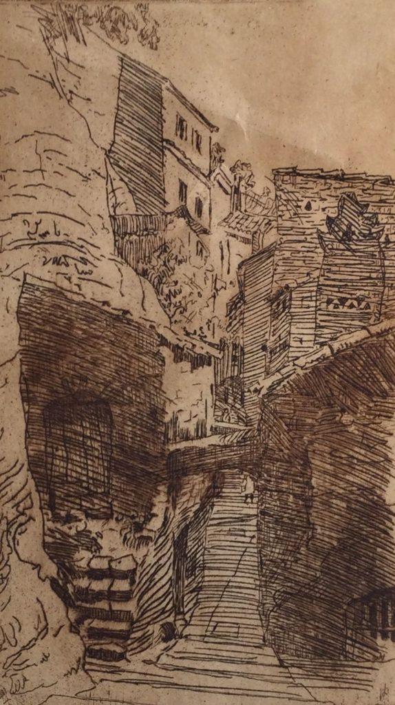 Kunst te koop bij Galerie Wijdemeren van kunstschilder Jan Hohmann Bergdorpje ets op papier,20 x 12 cm rechtsonder handgesigneerd