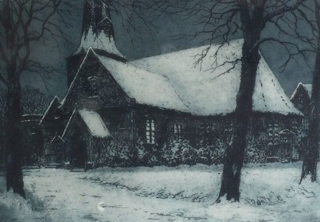 Kunst te koop bij Galerie Wijdemeren van kunstenaar Dora Timmermann Kerk in de winter kleurenets, 17 x 23 cm rechtsonder handgesigneerd, linksonder 'eigen druk'