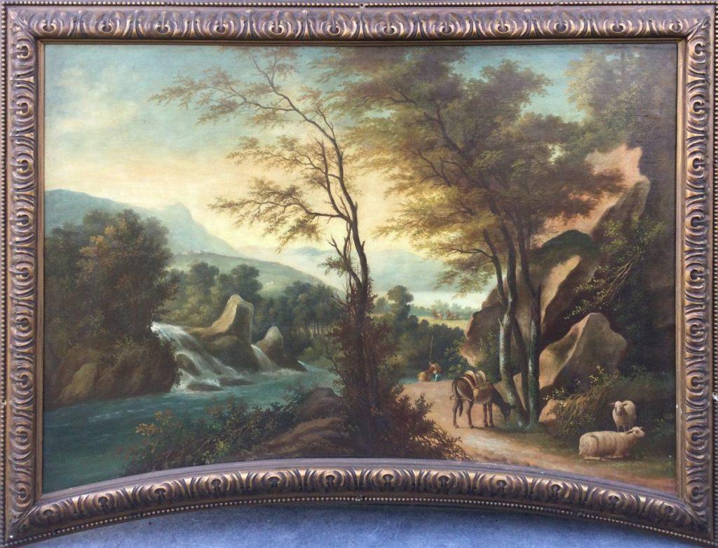 Kunst te koop bij Galerie Wijdemeren, Italiaans rivierlandschap met personen en vee olie op doek, 67 x 94 cm