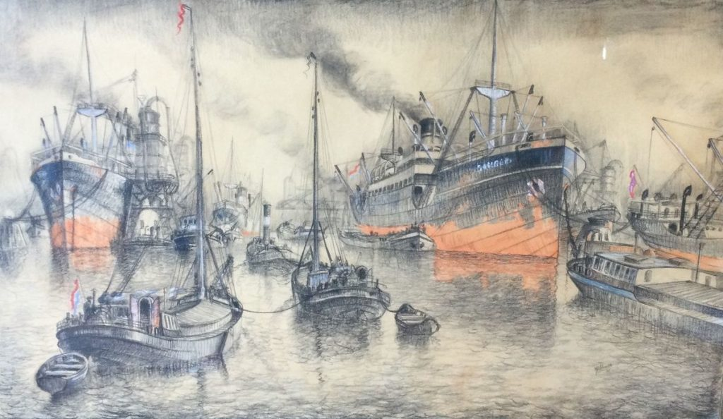 Kunst te koop bij Galerie Wijdemeren van kunstschilder Joop Molenaar Rotterdams havengezicht krijt/pastel op papier, 54.5 x 92.5 cm rechtsonder gesigneerd en gedateerd 35