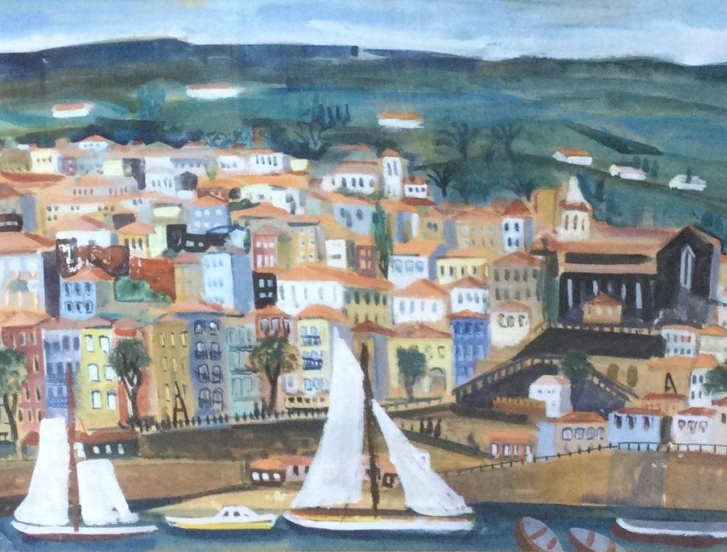 Kunst te koop bij Galerie Wijdemeren, Mediterraans stadsgezicht met zeilbootjes gouache op papier, 36.5 x 47 cm