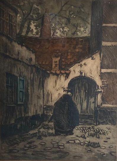 Kunst te koop bij Galerie Wijdemeren van graficus Alfred van Neste Monnik op kloosterplein kleurenets, 50 x 37 cm rechtsonder handgesigneerd, linksonder oplage 2/100
