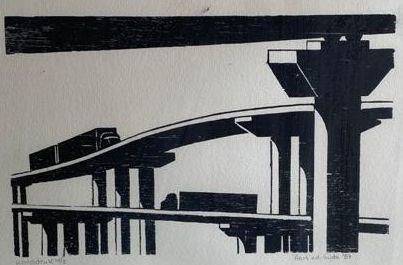 Kunst te koop bij Galerie Wijdemeren van kunstschilder Aart van der Sijde Viaducten linosnede, handdruk, 20 x 29 cm oplage 2/10, rechtsonder handgesigneerd en gedateerd 87