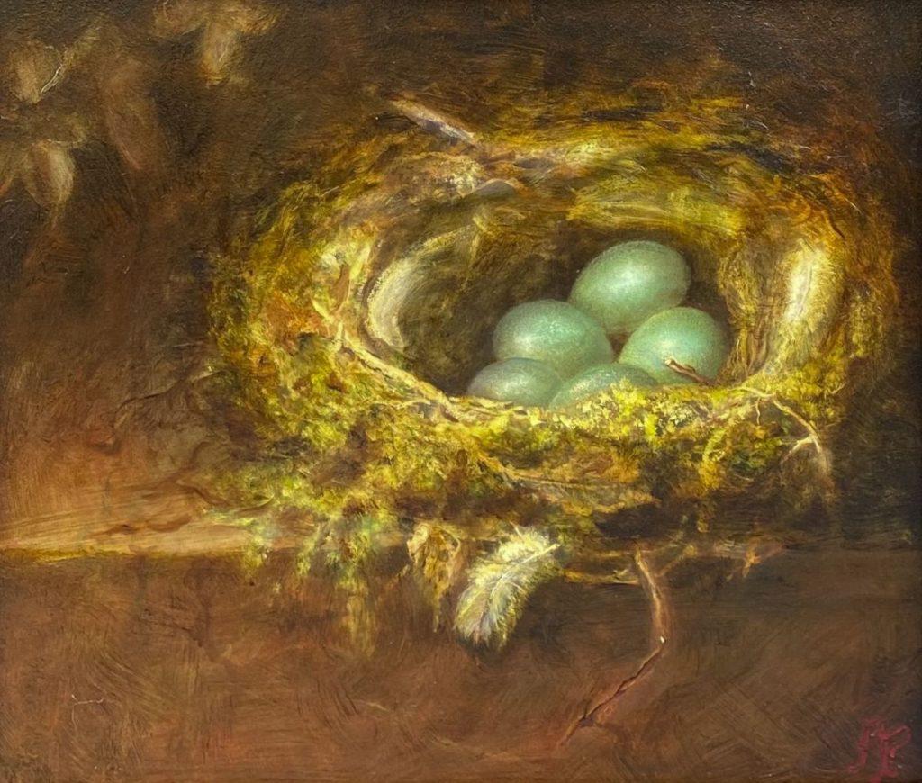 Kunst te koop bij Galerie Wijdemeren van kunstschilder Arnold Pieterse Nieuw leven olie op paneel, 34 x 39 cm rechtsonder gesigneerd