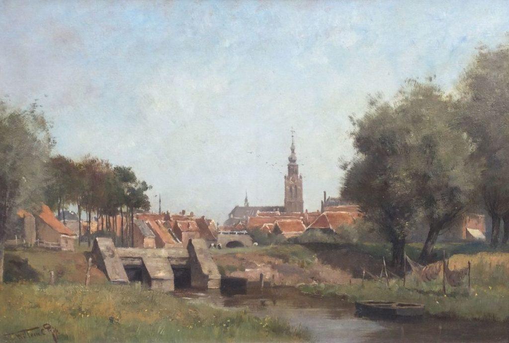 Kunst te koop bij Galerie Wijdemeren van kunstschilder W.C. Rip Gezicht op Steenbergen olie op doek, 44 x 65.5 cm linksonder gesigneerd