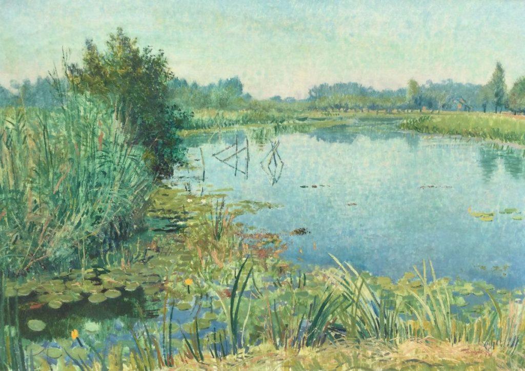 Kunst te koop bij Galerie Wijdemeren van kunstschilder Josef Verheyen Plasgezicht olie op doek, 67 x 95 cm rechtsonder gesigneerd
