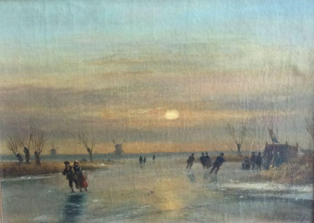 Kunst te koop bij Galerie Wijdemeren van kunstschilder L.J. Kleijn Winterpret olie op doek, bedoekt, 24 x 33 cm rechtsonder gesigneerd