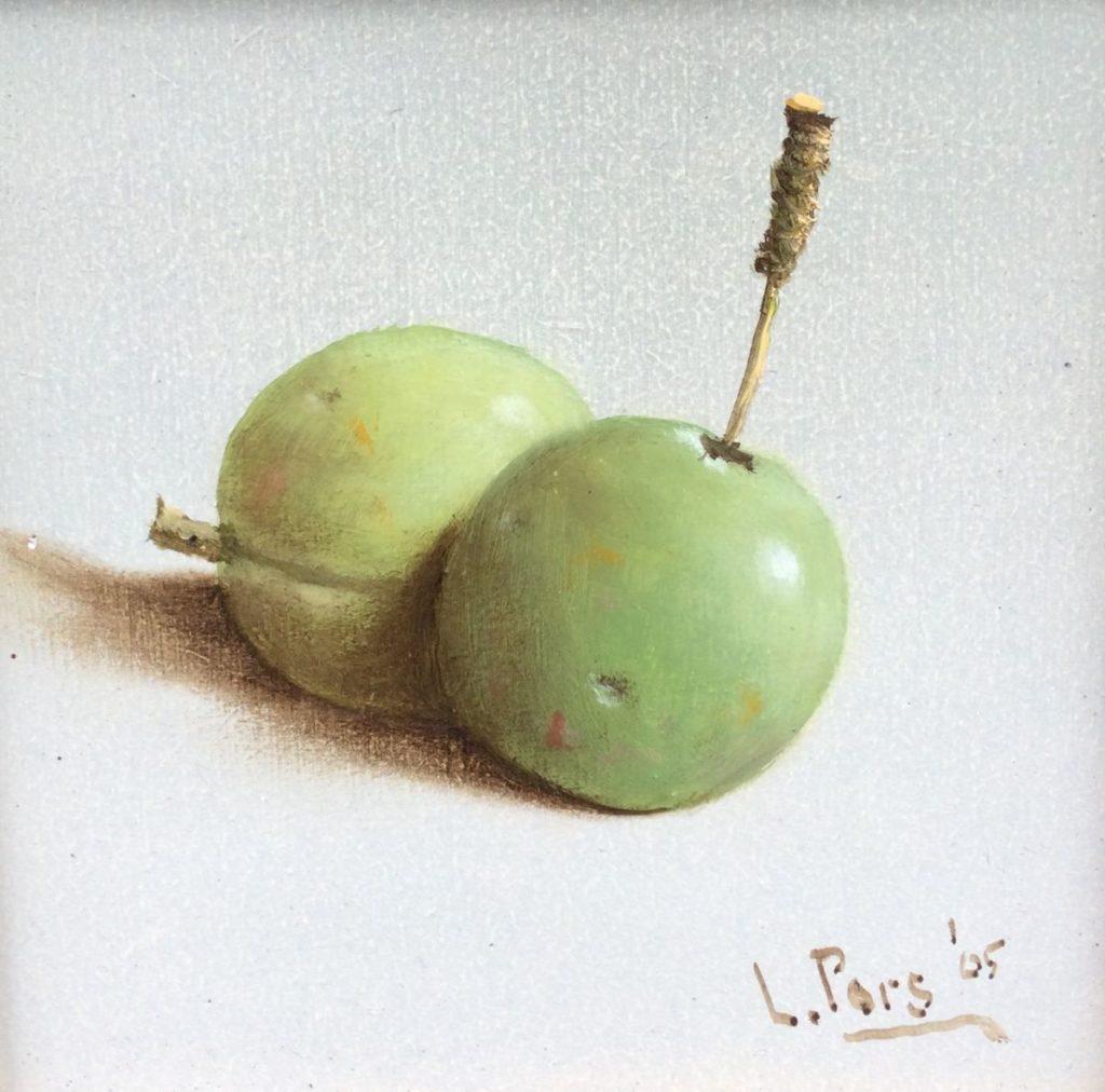 Kunst te koop bij Galerie Wijdemeren van kunstschilder Leo Pors Groene vruchten olie op paneel, 10 x 10 cm rechtsonder gesigneerd en gedateerd 05