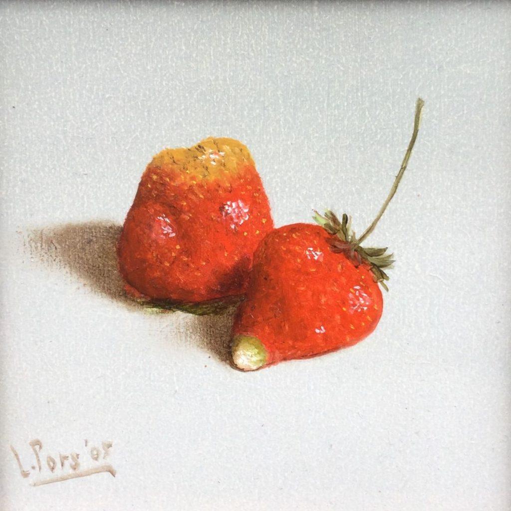 Kunst te koop bij Galerie Wijdemeren van kunstschilder Leo Pors Aardbeien olie op paneel, 10 x 10 cm rechtsonder gesigneerd en gedateerd 05