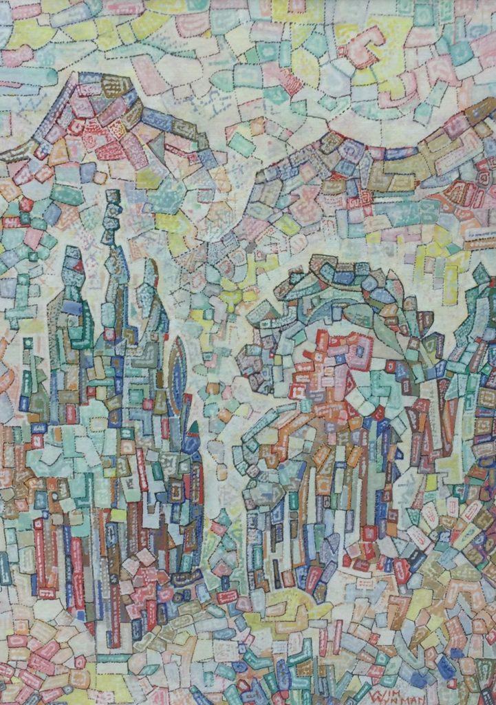 Kunst te koop bij Galerie Wijdemeren van kunstschilder Wim Wijnman Geabstraheerd landschap gemengde techniek op papier, 46 x 33.5 cm rechtsonder handgesigneerd
