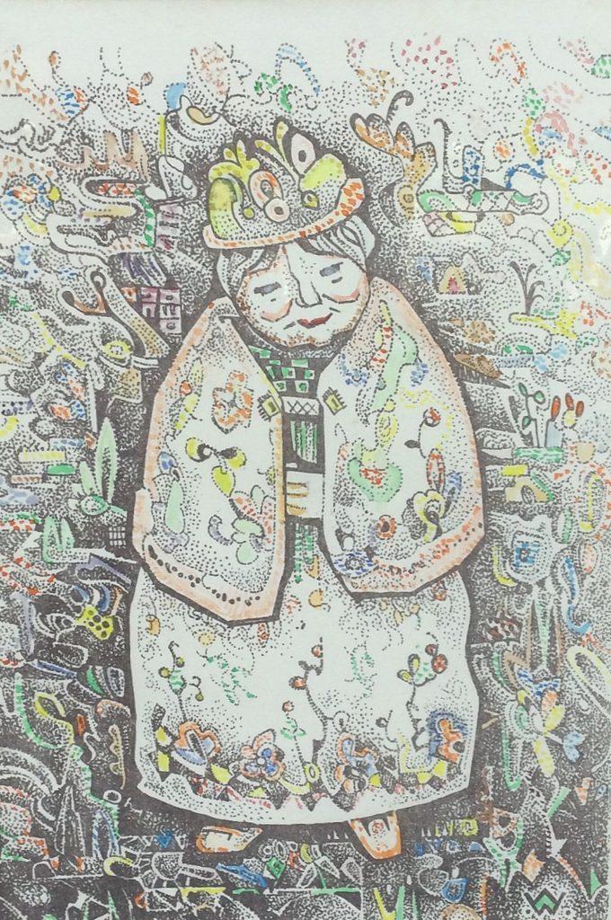 Kunst te koop bij Galerie Wijdemeren van kunstschilder Wim Wijnman Oude dame litho met gemengde techniek, 35 x 25 cm rechtsonder drukgesigneerd