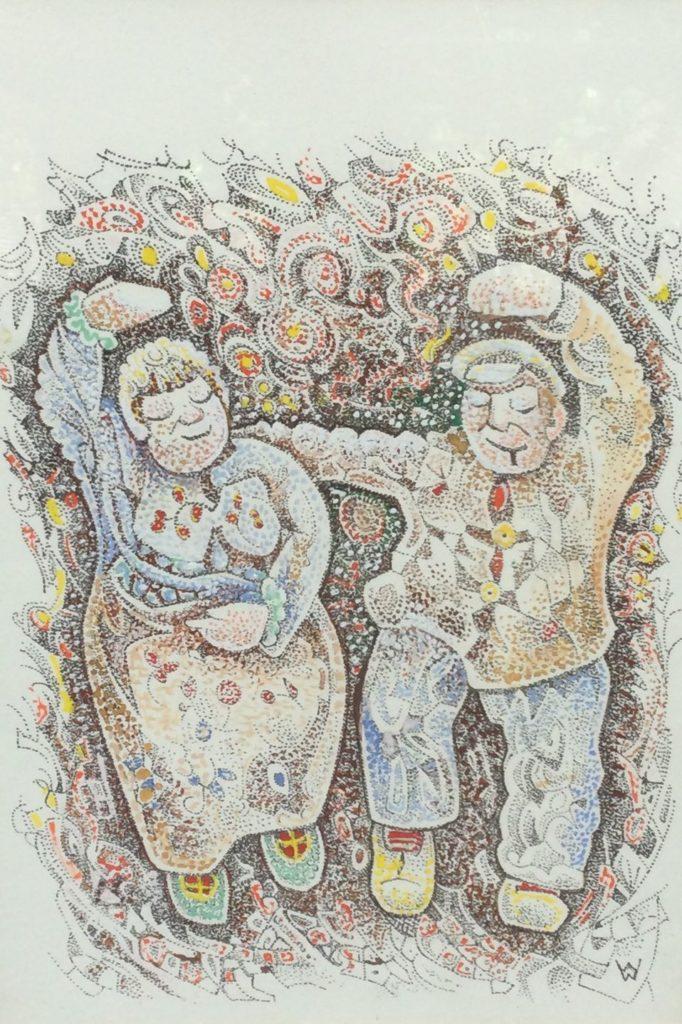 Kunst te koop bij Galerie Wijdemeren van kunstschilder Wim Wijnman Dansend boerenpaar litho + gemengde techniek, 35 x 24 cm rechtsonder drukgesigneerd