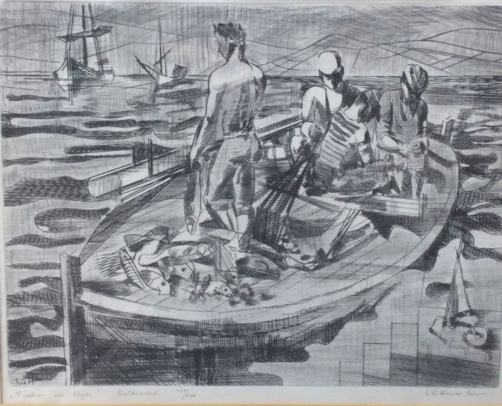 Kunst te koop bij Galerie Wijdemeren van kunstenaar Ernst Georg Heussler Fischer im Regen ets, 34 x 43.5 cm oplage 124/200, 'rolmodel' rechtsonder handgesigneerd