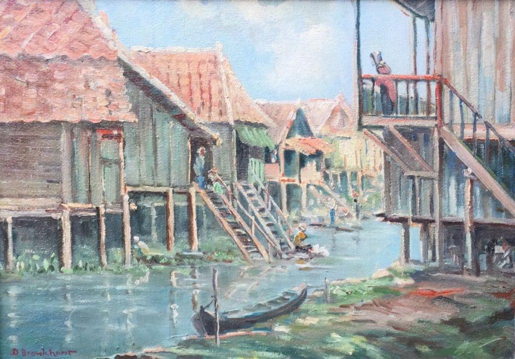 Kunst te koop bij Galerie Wijdemeren van kunstschilder David Bronkhorst Kampoeng Koneng Jakarta olie op board, boardmaat 36 x 49 cm linksonder gesigneerd