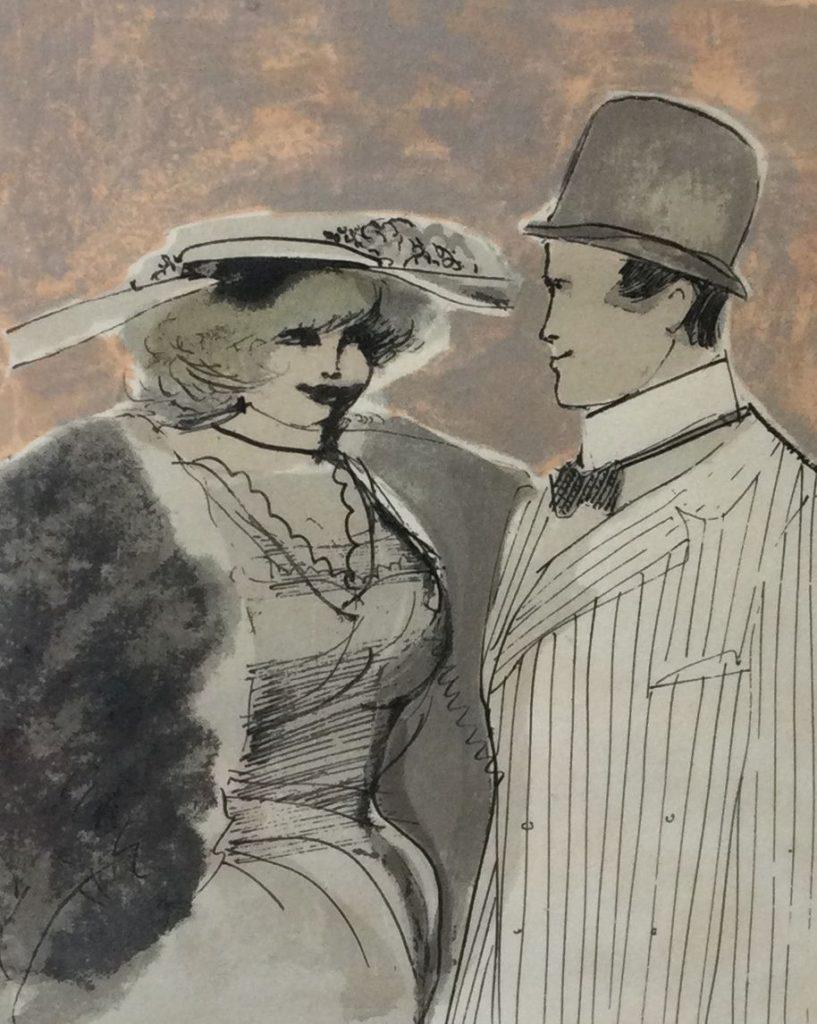 Kunst te koop bij Galerie Wijdemeren van kunstenaar Schreurs Fraai gekleed stel litho, 27 x 22 cm rechtsonder gesigneerd, oplage 29/250
