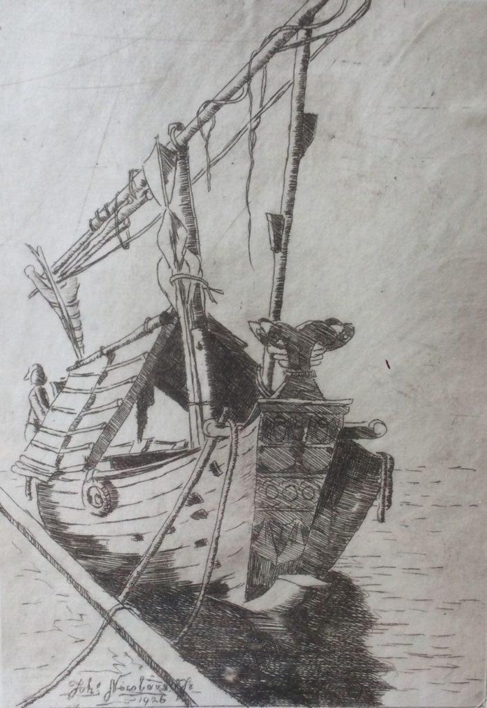 Galerie Wijdemeren, kunst te koop, Johannes Nicolaas Jr. Madoera ets, beeldmaat 25,5 x 18 cm oplage 37/50, handgesigneerd