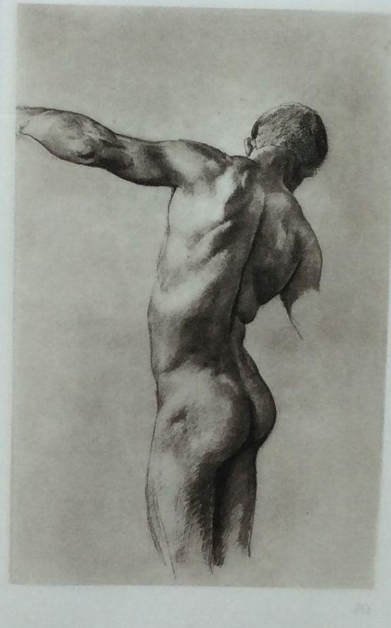 Kunst te koop bij Galerie Wijdemeren van kunstenaar Klingers Mannelijk torso litho, 24 x 15 cm rechtsonder gesigneerd
