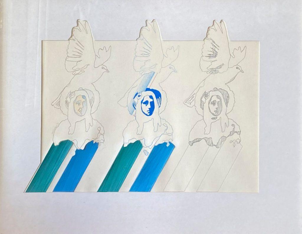 Kunst te koop bij Galerie Wijdemeren van kunstenaar Jaap Eerland Vrouw met vogel gemengde techniek op papier, beeldmaat 34 x 45 cm
