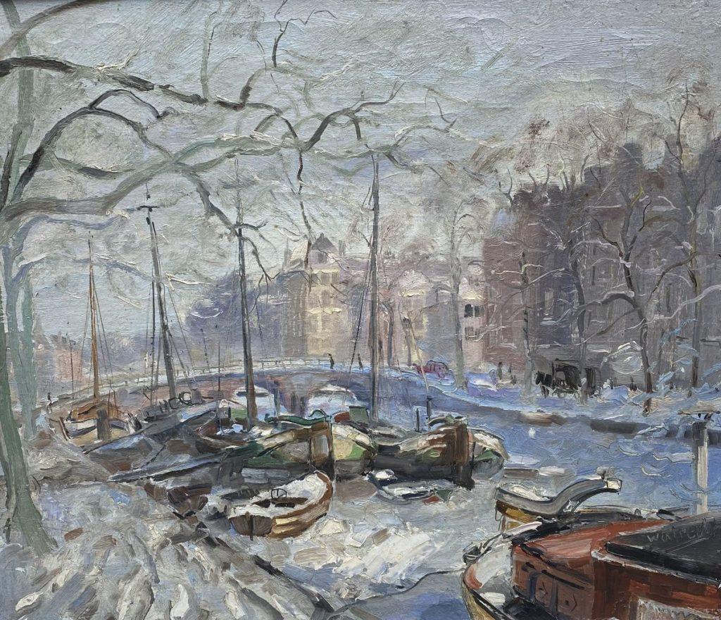 Kunst te koop bij Galerie Wijdemeren van kunstschilder Ben Walrecht Amsterdam, Keizersgracht met Woonschip Catherina olie op doek, 70 x 80 cm rechtsonder gesigneerd