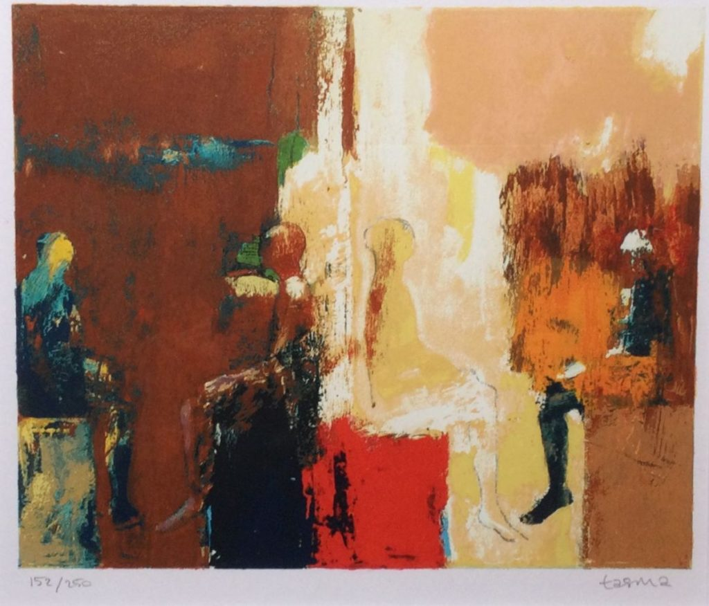 Kunst te koop bij Galerie Wijdemeren, Dick Tasma Figuren zeefdruk, 22 x 26 cm rechtsonder handgesigneerd, linksonder oplage 152/250