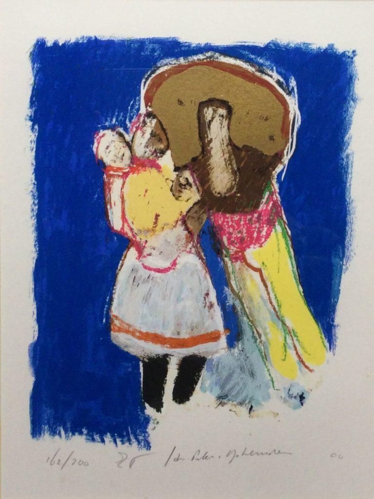 Kunst te koop bij galerie Wijdemeren, Twee figuren litho, 31.5 x 23.5 cm rechtsonder handgesigneerd