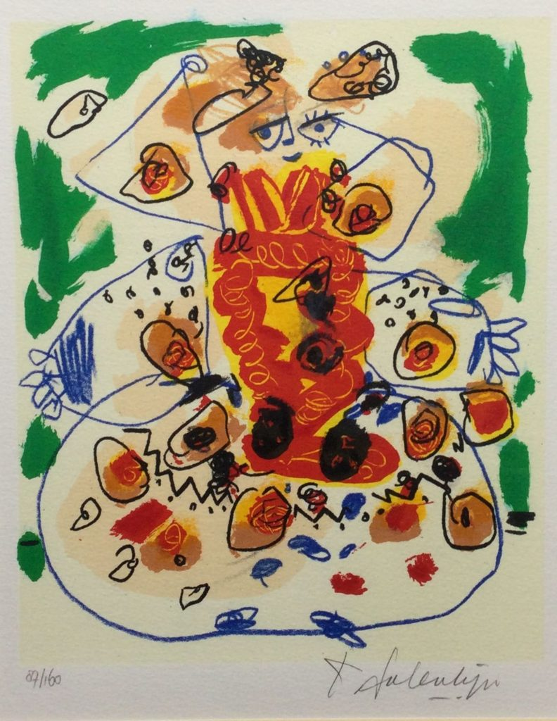 Kunst te koop bij galerie Wijdemeren van kunstschilder Salentijn Geabstraheerde figuur zeefdruk, 27.5 x 22 cm rechtsonder handgesigneerd, linksonder oplage 87/160