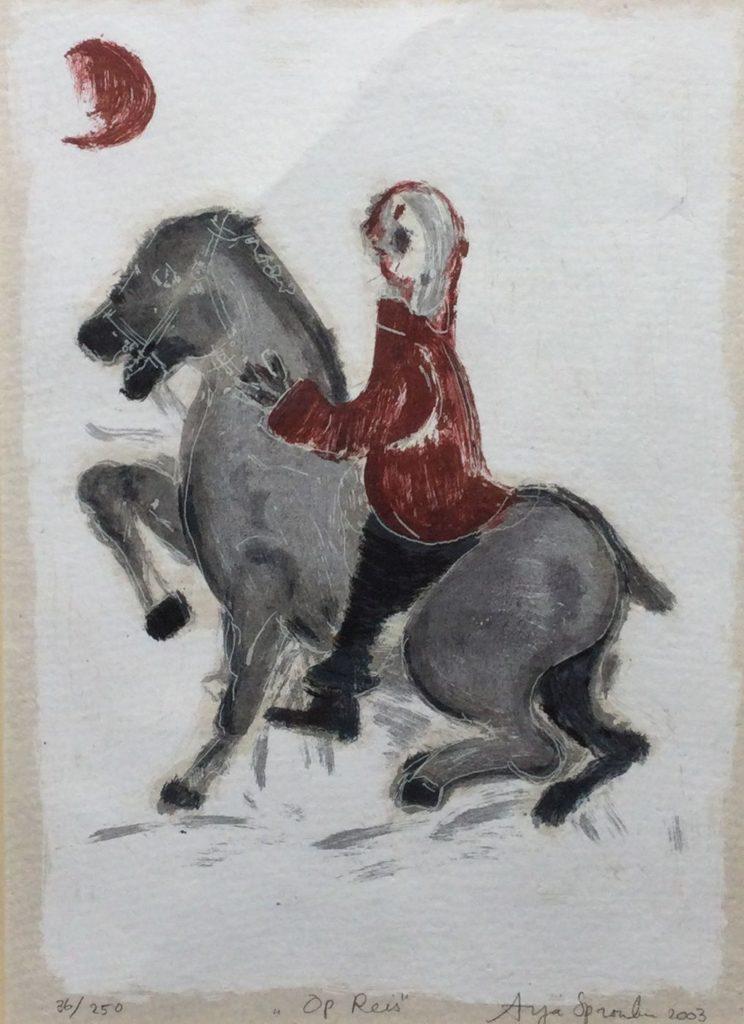 Kunst te koop bij galerie Wijdemeren van kunstenares Arja Spronken Op Reis gemengde druktechnieken, 27.5 x 19.5 cm rechtsonder handgesigneerd, linksonder oplage 36/250