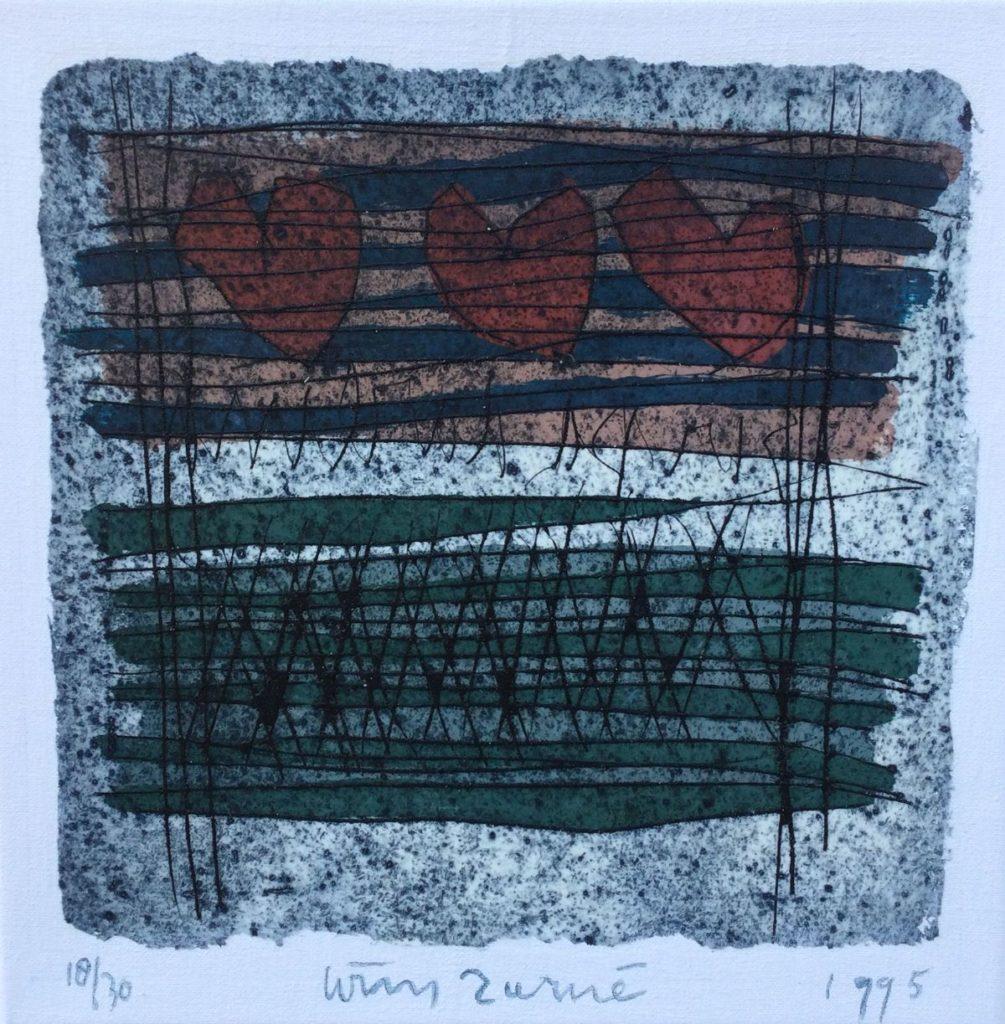 Kunst te koop bij Galerie Wijdemeren van kunstschilder Wim Zurné Dokumenten (in opdracht van het ABP) gemengde diepdruk techniek, 40 x 40 cm gesigneerd midden-onder, oplage 18/30, gedateerd 1995