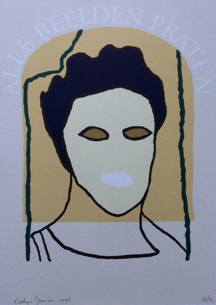 Kunst te koop bij galerie Wijdemeren van graficus Evelyn Jansen Alle beelden praten zeefdruk, 28 x 20 cm linksonder handgesigneerd en gedateerd 1996, rechtsonder oplage 18/65
