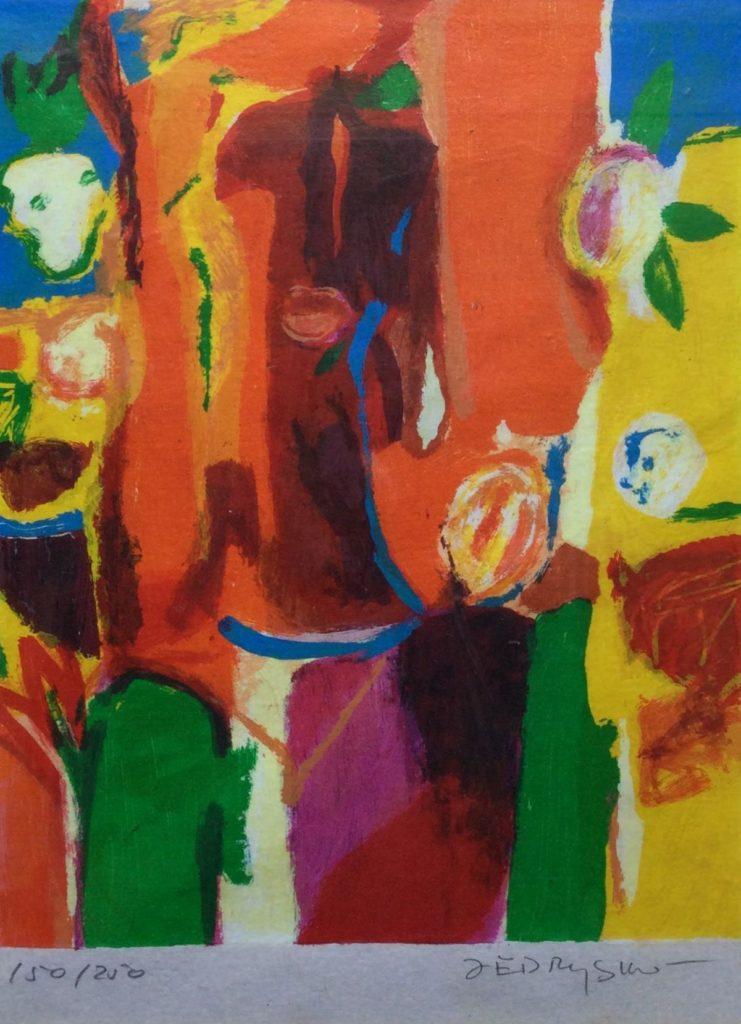 Kunst te koop bij Galerie Wijdemeren van graficus Marta Jedrysko Vrouw zeefdruk, 30 x 23 cm rechtsonder gesigneerd, linksonder oplage 150/250