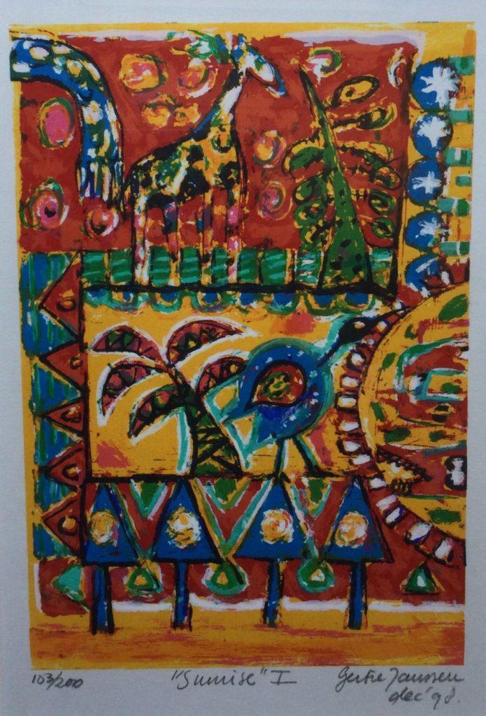 Kunst te koop bij galerie Wijdemeren van kunstschilder Gertie Janssen Sunrise I litho, 30 x 20 cm rechtsonder handgesigneerd en gedateerd dec 98